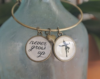 Peter Pan, Never Grow Up Bracelet, Peter Pan charm, Never Grow Up Charm.  Available in antique gold or silver