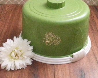 Vintage Pastry Plate with Lid, Dessert Plate, Pastry Plate, Green Cake Plate