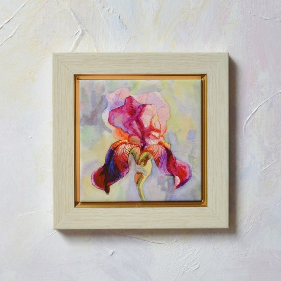Hand painted ceramic tile wall art burgundy iris by - Hand painted ceramic tile ...