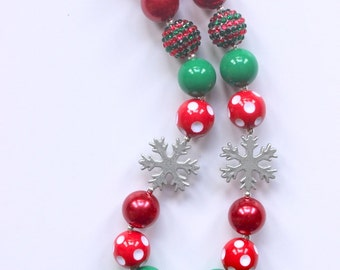girls christmas chunky necklace red green silver snowflake christmas chunky necklace toddler holiday chunky bead necklace