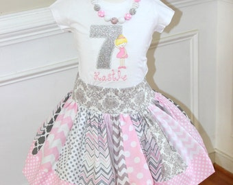 Ballerina Birthday outfit Ballet birthday outfit skirt set girls pink and gray clothing ballerina skirt set ballerina shirt  chevron damask