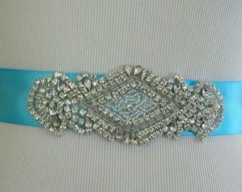 Wedding Sash/Belt,Bridal Sash,Rhinestone Sash,Beaded Sash- Turquoise Wedding Sash