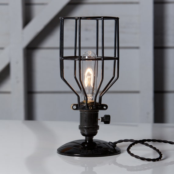 Industrial Desk Lamp Black Wire Cage Table Light Vintage