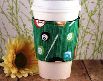 Fabric Coffee Cozy / Billiards Coffee Cozy / Playing Pool Coffee Cozy / Eight Ball Coffee Cozy / Coffee Cozy / Tea Cozy