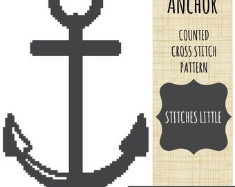 Anchor Cross Stitch Pattern -  Modern Cross Stitch - Nautical Cross Stitch - PDF Pattern - Instant Download