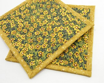 Quilted Potholders, Fabric Hot Pads - Golden Yellow Flowers on Green and Teal Cotton Pot Holders - Housewarming Gift, Hostess Gift