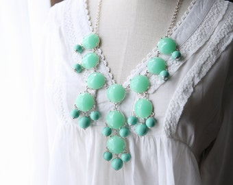 J Crew Bubble Necklace Inspired FACETED Mint Green Bubble Statement Bib Necklace.