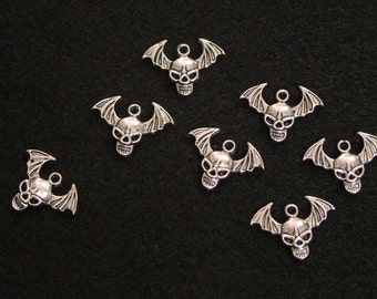 Twenty Skull Beads with Wings - Bat Wings - Evil - Tibetan Silver