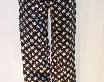 Vintage Smart Trousers by Pearce Fionda Designer Tailored Wool Crepe Slacks Chequered Pattern, Cream and Black, Size UK 12 -1990s