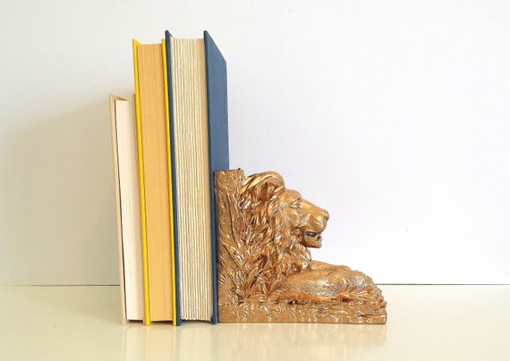 Gold Lion Statue Bookend Metallic Home Decor By Currentclassic