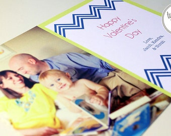 Printable Photo Valentine Card with Bold Chevron (7 x 5 inch Digital File, Printing Available)