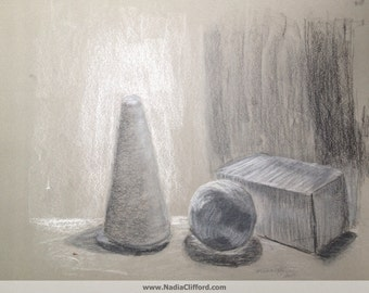 Study in Black and White - giclee print of original pastel & charcoal still life drawing