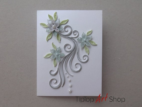 Paper quilling blank wedding greeting card with handmade 3d for 3d rose wedding invitations