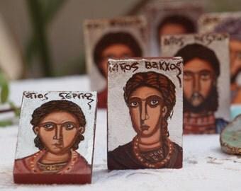 St Sergius and Saint Bacchus- religious miniatures of Military Saints, Byzantine icons- catholic gift, eastern orthodox gift,