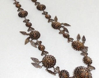 1/2 Price CLEARANCE Victorian Jewelry: Antique Silver Filigree Fringe Necklace