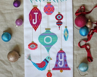Joy - Satsuma Street - Modern Christmas cross stitch pattern PDF - Instant download