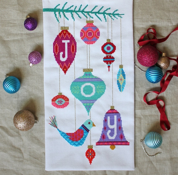 Joy - modern Christmas cross stitch embroidery pattern PDF - Instant download
