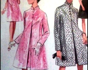 "Butterick 5180  Misses' One-Piece Dress And Coat  Bust 38""  UNCUT"