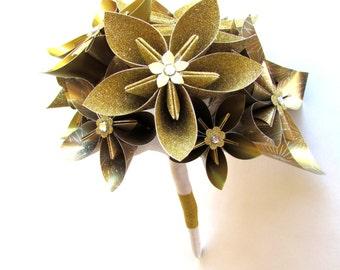 Gold Wedding Bouquet, Bridal Bouquet, Paper flowers, Origami flowers, Paper Bouquet, Gold bouquet,  Gold paper flowers, Paper flower bouquet