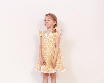 Vintage toddler A line DRESS pattern - easy childrens sewing pattern - girls pdf patterns - from 3T to 8 years - INSTANT DOWNLOAD