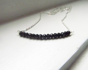 Black spinel necklace bar silver gold