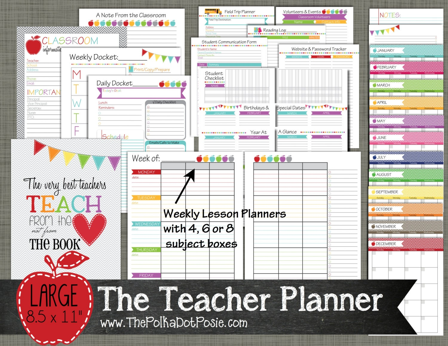 This is a photo of Genius Printable Teacher Planner