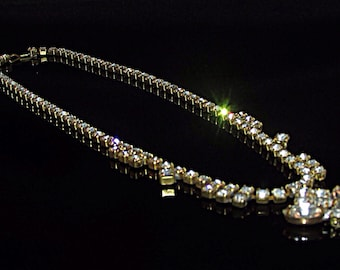 Stunning 1950's Crystal Clear Rhinestone Necklace