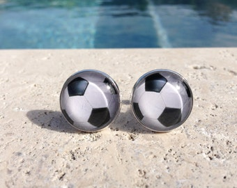 Soccer Ball Cufflinks and or Tie Clip,Soccer Cufflink and or Tie Clip,Sports Cufflinks,Cuff Links,Mens Cufflinks,Silver Plated Gifts for Him
