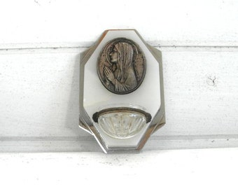 French vintage benitier holy water font .