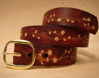 """Tooled Leather Belt - Custom Leather Belt - Personalized Leather Belt - Brown 1-1/2"""" Floral 3 Pattern"""