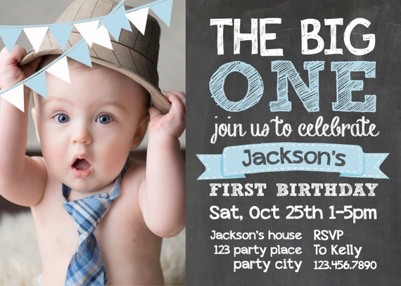 Items similar to chalkboard first birthday invite card 1st for First birthday board template