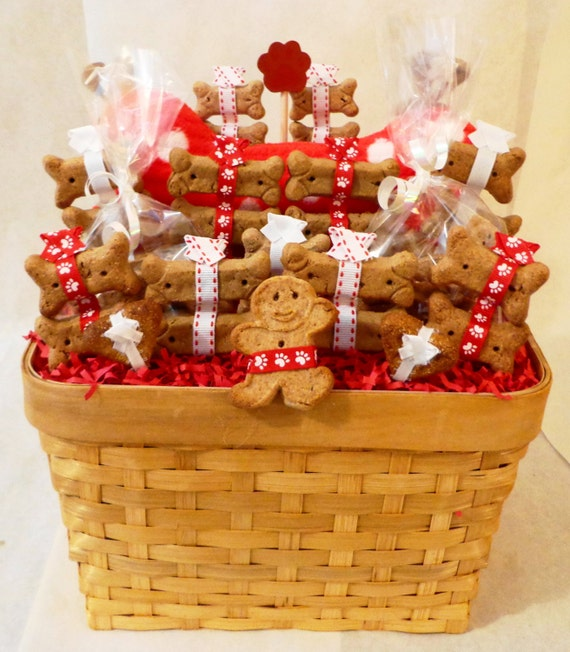 Etsy Dog Gift Baskets : Items similar to dog biscuit treat gift basket with