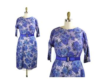 SALE 1950s Purple Lace Overlay Floral Dress / Spring Flowers Plus Size Dress