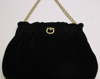 1960s Vintage Handbag, by MM Vintage Purse, Black Imported velvet purse with double chain, Evening handbag, Formal handbag,
