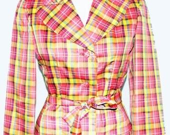 1950s Womens Plaid Taffeta Dressy Pinched Waist Tie Belt Pink Jacket Sz 6 Vintage Retro