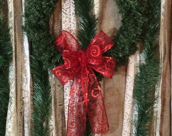"Christmas Wreath Bow/ Sheer Red Scroll Glittered Bow/ Handmade Bow/ Small 8"" Bow Red"