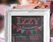Birthday Chalkboard Poster - Bunting Style / Printable / First Birthday Sign *Includes Free file for sharing on Facebook!*
