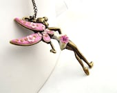Pink Fairy Necklace Pink Ballerina Necklace Whimsical Necklace Floral Fairy Jewellery  Fantasy Necklace Ballerina Jewellery Floral Ballerina