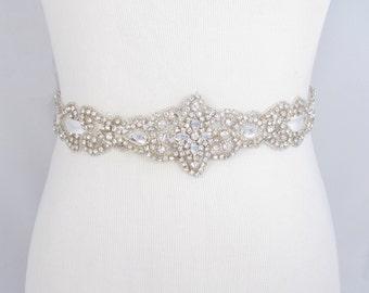 Crystal Rhinestone Bridal Belt, Satin Ribbon Wedding Dress Sash, Beaded Bridal Belt, Jeweled Beaded Wedding Gown Sash, 35 Satin Colors