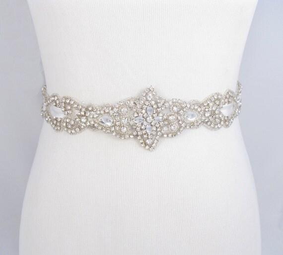 Items Similar To Crystal Rhinestone Bridal Belt, Satin