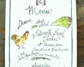 Made to Order - Custom Menu Watercolor Illustration - Wedding Menu - Event Menu