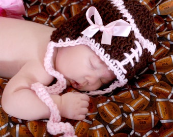 Girls Pink Monday Nite FOOTBALL Crochet Earflap hat with ties Ready for Football Preemie,newborn, 0-3 month, 3-6 month, 6-12 month, 1-3 yr