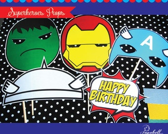 Superheroes Props for Avengers Birthday. Cool Avengers masks for Superhero birthday. Iron Man, Captain America, Hulk, Thor. Instant Download