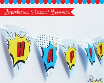 Superheroes Pennant Banners for Avengers birthday party. INSTANT DOWNLOAD. Vintage comic style Happy Birthday pennant banners.