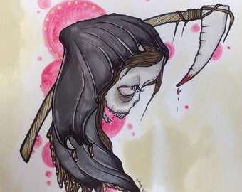 Lady Reaper  Tattoo apprentice flash art print hand signed and numbered 10x10