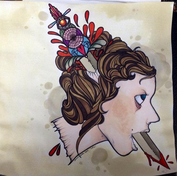 cupids girlfriend tattoo apprentice flash art print hand