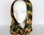 Camo Camoflage Crochet Infinity Scarf Brown and Green Neckwarmer Circle Scarf Cowl