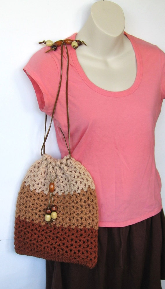 Crochet Drawstring Bag : Brown Crochet Purse Drawstring Bag School Bag Book Bag Hippie Boho