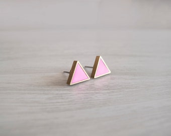 Hot Pink Triangle Stud Earrings - Hypoallergenic Surgical Steel Posts