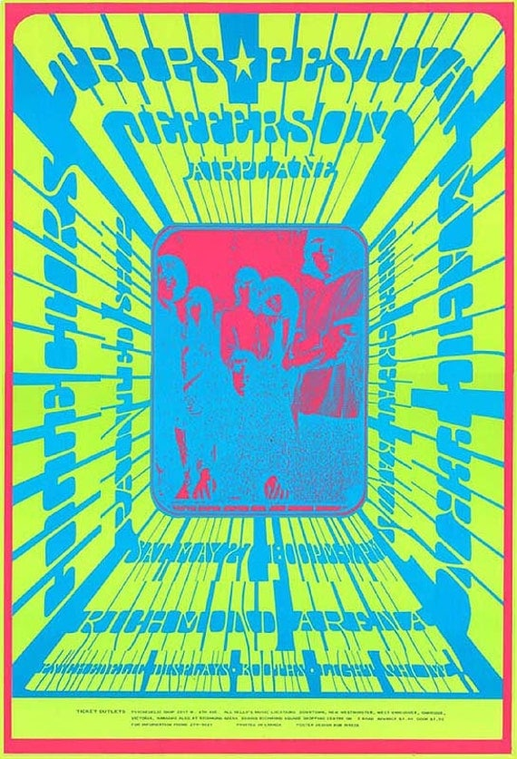 Jefferson Airplane Psychedelic 1960s rock and roll concert poster